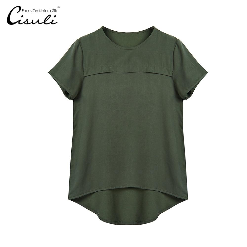 CISUL100 Silk Short Sleeve Shirt Mulberry Silk New Fashion Summer Style Lady Jacquard Tops Women s