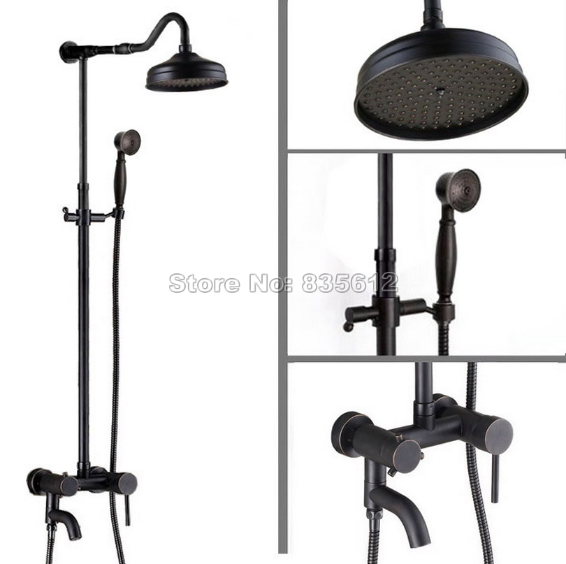 Black Oil Rubbed Bronze Bathroom Rain Shower Faucet Set with Single Handle Tub Mixer Tap + 8 inch Round Shower Head Wrs643