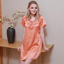 100% Silk Nightgowns Female Comfortable Summer Short Sleeve SILK Womans Sleepwear Fashion Simple Nightdress S5592