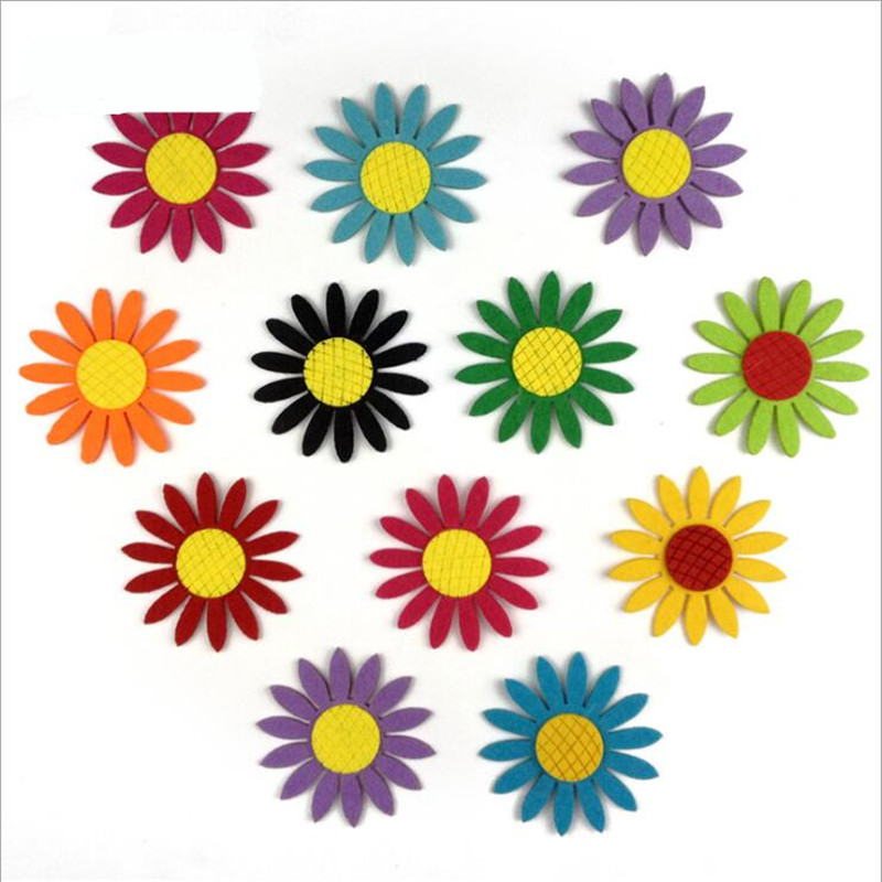 Mix Color 6pc Sun Flower Felt Fabric Cloth Material DIY Free Cutting For Kids Room Kindergarten Wall Decoration Sewing Appliques