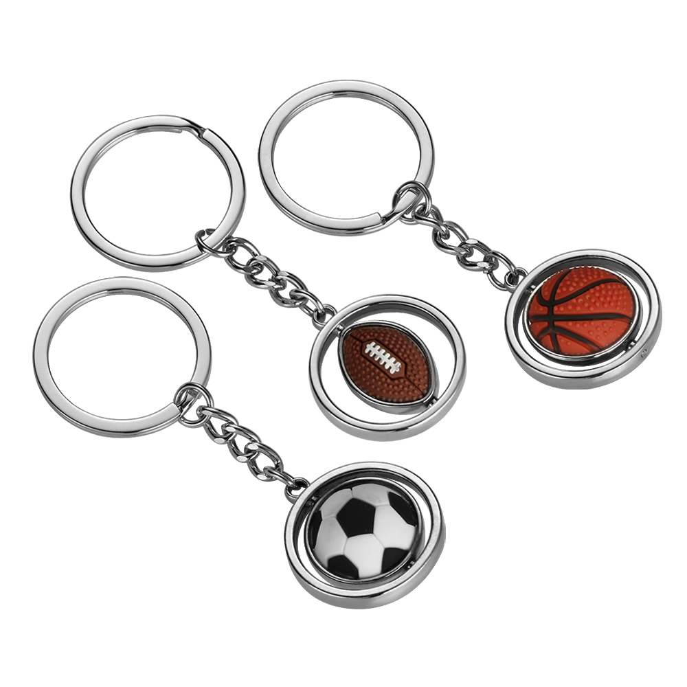 Fashion alloy car keychain keyring key chain holder 3d cute rotary rubber basketball football rugby model for bmw toyota drivers