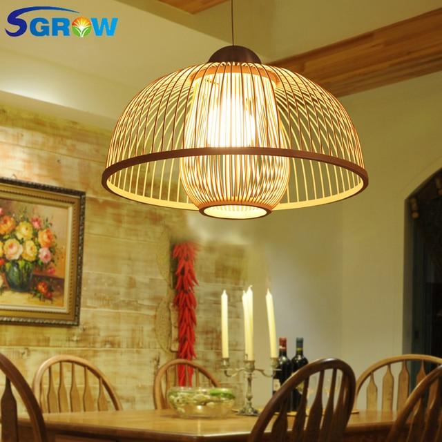 SGROW hecho a mano doble pantalla de bambú luces colgantes para comedor  dormitorio lámpara colgante con E27 bombilla iluminación interior