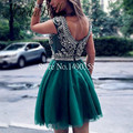 Bling Open Back Mini Homecoming Dress Green/ Blue Crystal Beaded Cap Sleeve 2016 School Graduation Dresses Short For Sale