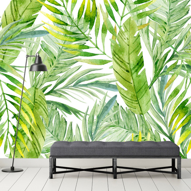 Online Shop Green Palm Leaves Background Mural Wallpaper For Living Room Office Wall Decoration Wholesale Free Shipping Discount Wallpapers Aliexpress