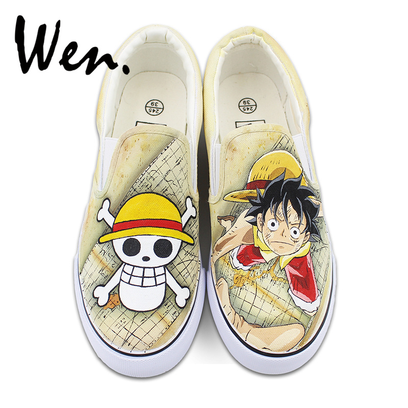 Wen One Piece Luffy Jolly Roger Design Custom Anime Hand Painted Shoes Slip On Unisex Canvas Sneakers Birthday Gifts wen original design colorful lamp bulb hand painted shoes black slip on canvas sneakers for man woman s gifts presents