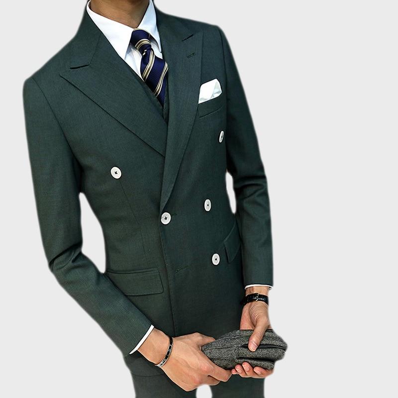 (Jacket+Vest+Pants )Double Breasted Dark Green Business Suit Groom Tuxedos Slim Fit For Men Wedding Suit 3 Pcs Blazer Men Suit