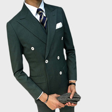 цена (Jacket+Vest+Pants )Double Breasted Dark Green Business Suit Groom Tuxedos Slim Fit for Men Wedding Suit 3 Pcs Blazer Men Suit онлайн в 2017 году