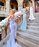 New Design 2018 Bridesmaid Dresses Spaghetti Floor Length Big Bow Open Back Applique Tulle Maid of Honor Wedding