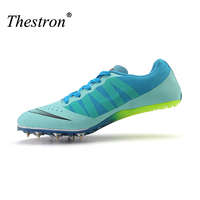2018 Running Shoes for Men and Women Athletics Spike Shoes for Sneakers Track Spikes Lightweight Purple Blue Unisex Trainers