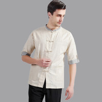 Hot Sale Beige Traditional Chinese Style Mens Kung Fu Shirt Summer Cotton Linen Hombres Camisa Size