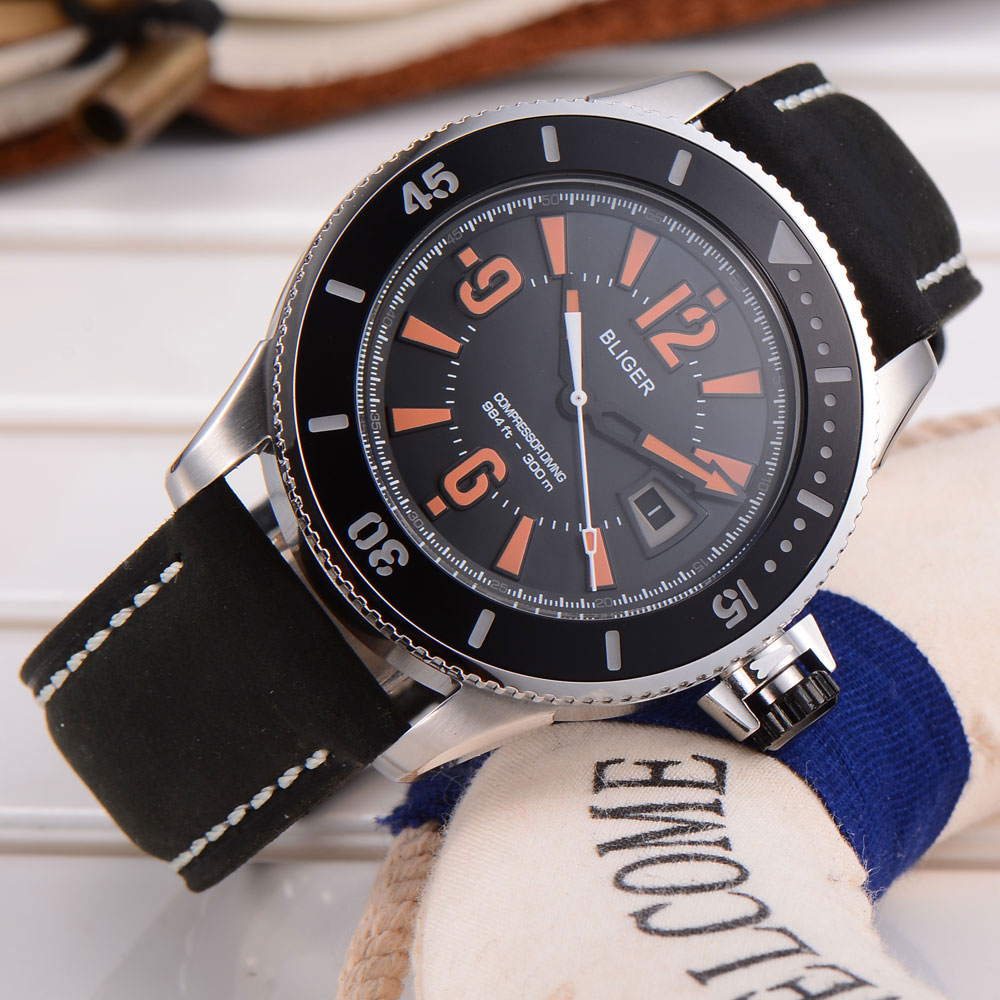 43mm Bliger stainless steel case black dial orange marks auto Date miyota Automatic Self-Wind movement Men's wristwatch ysdx 398 fashion stainless steel self stirring mug black silver 2 x aaa