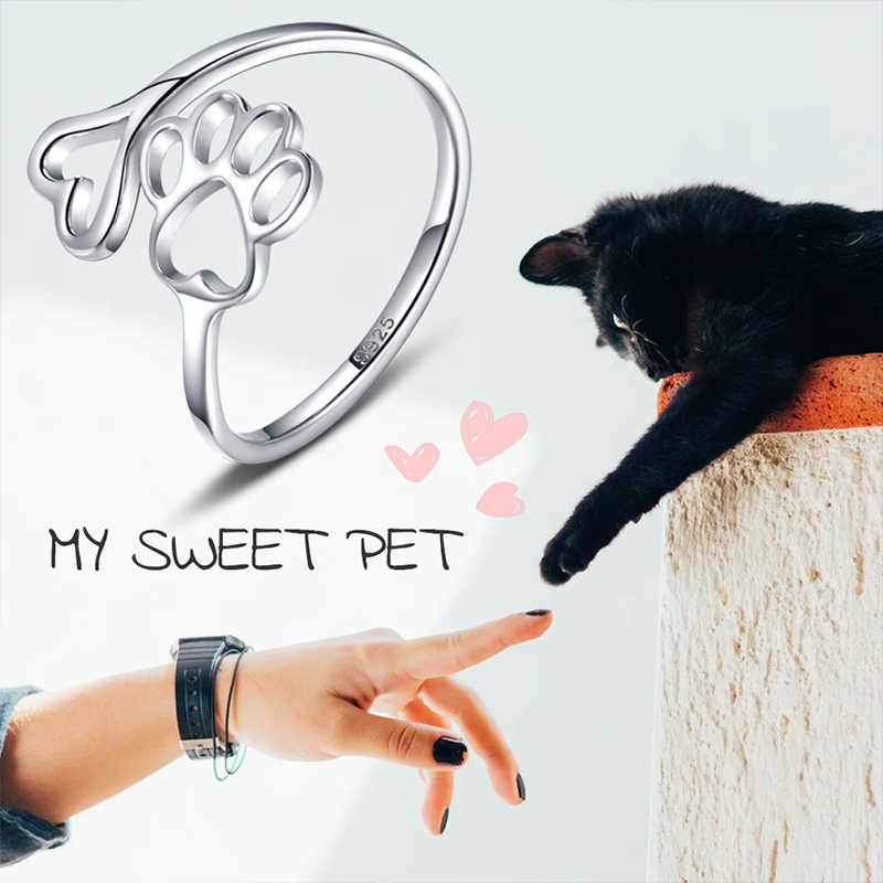 Beauty Hollow Paw พิมพ์ 925 เงินสเตอร์ลิงแหวนเปิดแหวนปรับสัตว์เลี้ยงเครื่องประดับเจาะ Love Dog Cat Claw แหวน