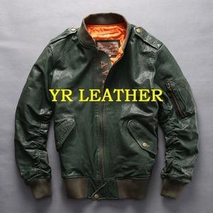 Image 1 - YR!Free shipping.100% tanning goatskin.Brand classic A1 leather flight bomber jacket,mens slim genuine leather coat,plus size