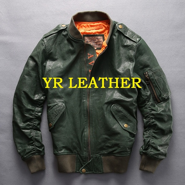 YR!Free shipping.100% tanning goatskin.Brand classic A1 leather flight bomber jacket,mens slim genuine leather coat,plus size