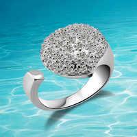 Nova chegada!!! Genuíno sólido 925 anéis de prata esterlina. Anel de prata puro feminino do anel da menina ajustável da forma, jóia do coração