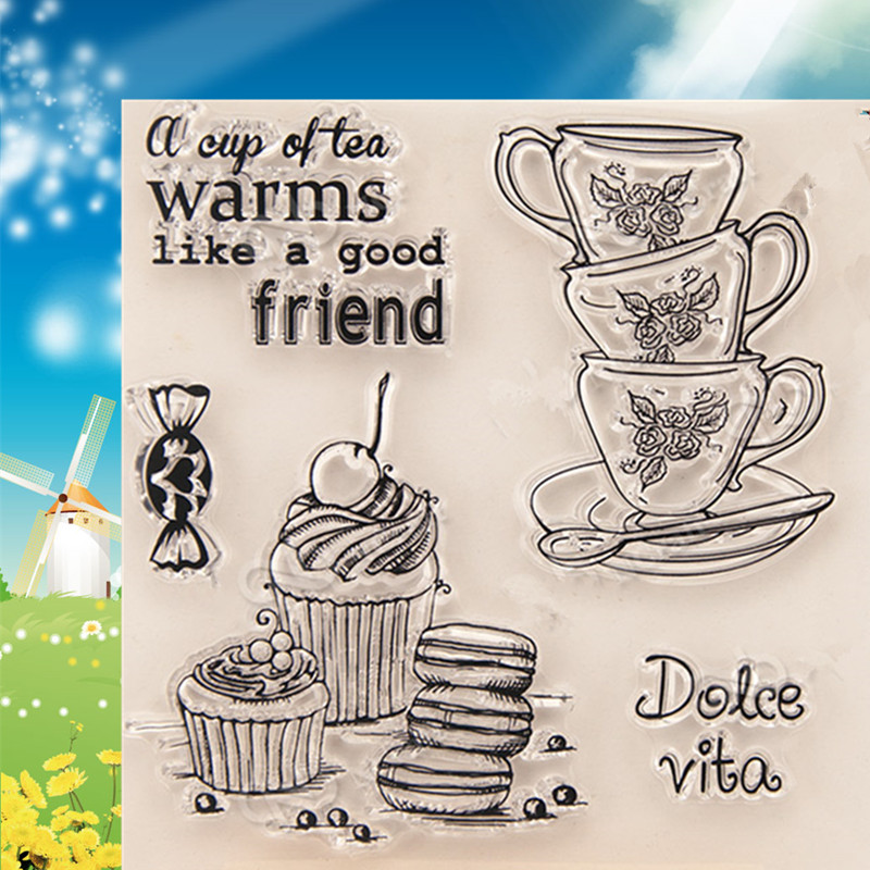 TEA  Silicone Transparent RUBBER Stamp icecream Clear stamps birthday coffee cups stamp  DIY Scrapbooking for card making  stamp lovely animals and ballon design transparent clear silicone stamp for diy scrapbooking photo album clear stamp cl 278