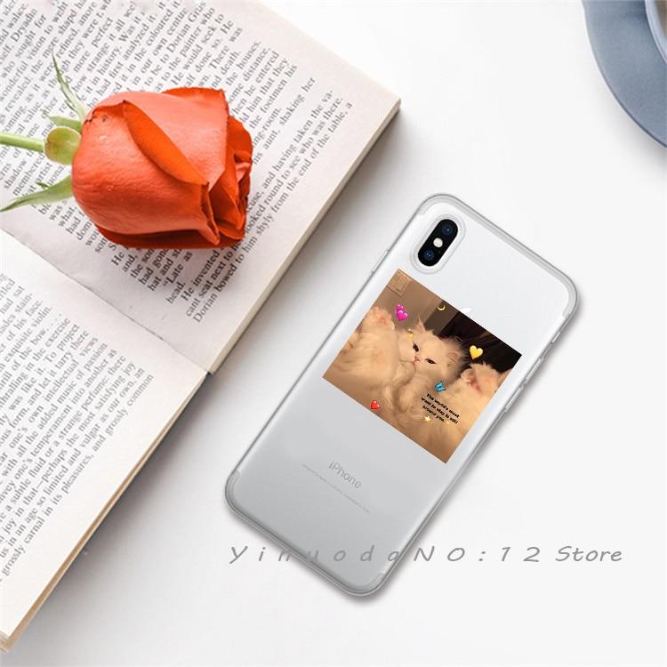 Yinuoda супер милый кот собака мультфильм розовый в форме сердца ты и я серия HD Прозрачный чехол для телефона для iphone 6 7 8 Plus X XS XSMax 5S - Цвет: 6