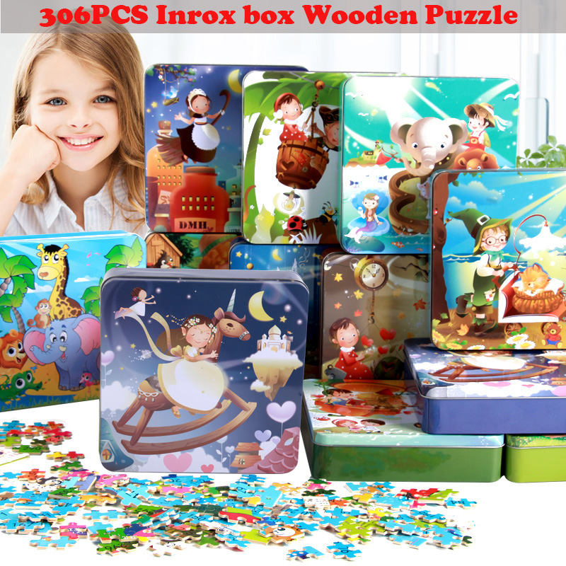 Baby Wooden toys306pcs wooden Puzzle jigsaw puzzle for children early education cartoon  puzzles table kids family games children s early childhood educational toys the bear change clothes play toys creative wooden jigsaw puzzle girls toys