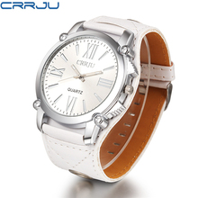 CRRJU classic brand flower butterfly leather women's Casual watch quartz watch white pure leisure style large dial