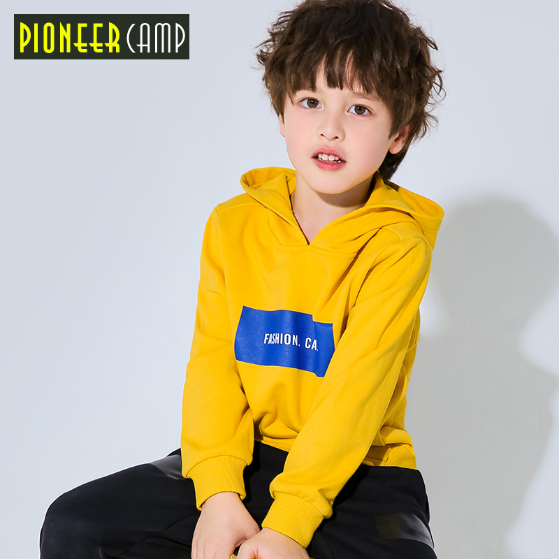 Pioneer camp new kids thick hooded t shirt boys fashion letter printed warm t shirt for boys quality cotton tops child BWY810098 drop shoulder crop fishnet hooded t shirt