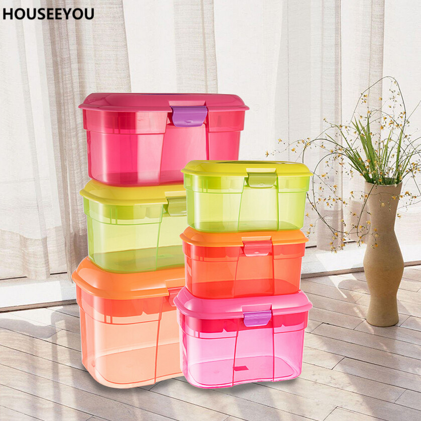 Transparent Plastic Storage Boxes With Handle Double Floors Medication Storage  Boxes With Compartments Home Storage Supplies
