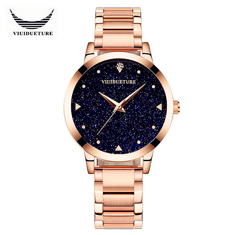 VIUIDUETURE Luxury Brand Fashion Ladies Starry Sky Series Quartz Watches Women Rose Gold Alloy Rhinestone Watch Relogio Feminino