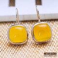 Стерлингового Серебра 925 Природных полудрагоценных камней желтые халцедон цитрин желтый агат плоские круглые простые серьги женщин