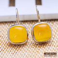925 Sterling silver Natural semi-precious stones yellow chalcedony citrine yellow agate flat circular simple earrings women