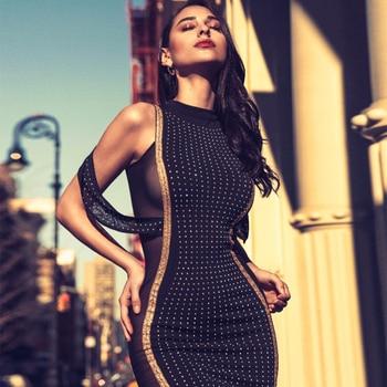 Black Sleeveless O-Neck Beading Sexy Elegant Maxi Dress Women Vestidos