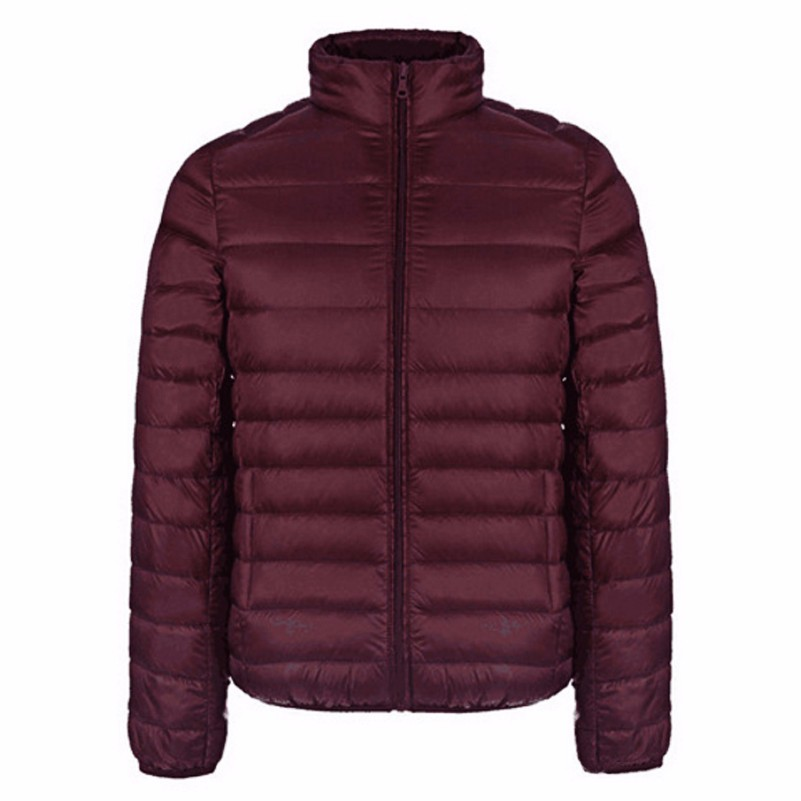 Image 3 - Autumn Winter Jacket Men 2016 New Couples Thin Coats 90% Duck Down Ultra light Slim Stand Collar Cotton Padded Solid Parkas X353-in Down Jackets from Men's Clothing