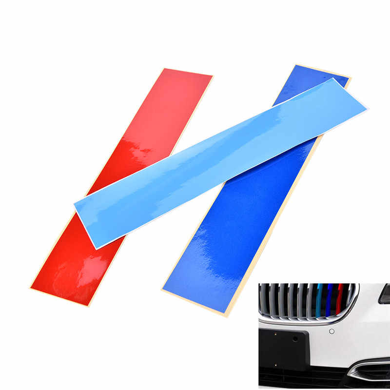 Mặt trận Grille Grill Vinyl 3 Dải Màu Sticker Decal Đối Với BMW M3 M5 E46 E60 E90