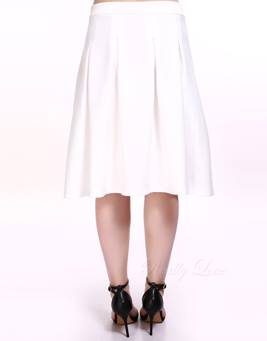 32cb8e9f5f65c Cute Ann Women s Plus Size A line Skirt White High Waist Cocktail Party  Casual Midi Skirt Zip Back Summer Spring Wear-in Skirts from Women s  Clothing on ...