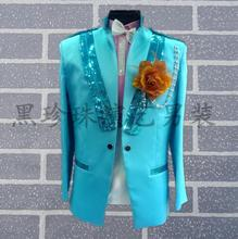 sky blue men suits designs masculino stage costumes for singers sequin blazer dance clothes jacket style dress rock fashion