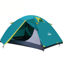 4 Colors Hewolf Brand RainProof 2 Person Double Layer Aluminum Family Tents Travel Sunscreen Quality Outdoor Picnic Camping Tent