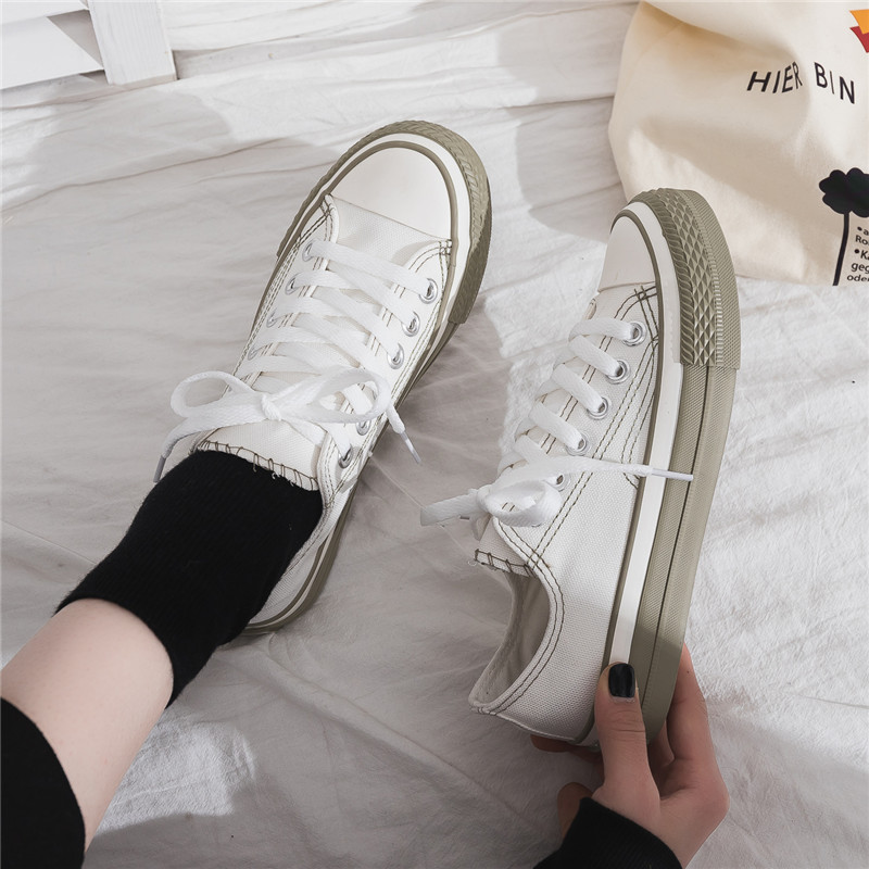 Women Sneakers 2019 New Spring Korean Canvas Shoes for Female Students Casual Shoes Lace Up Girl Pink Shoe Stylish All Match