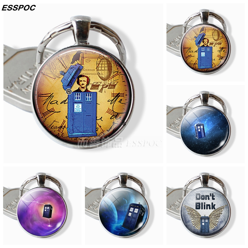Doctor Who Key Chain TARDIS Glass Dome Pendant Jewelry Time Machine Police Box Metal Keychain Gifts For Men Women