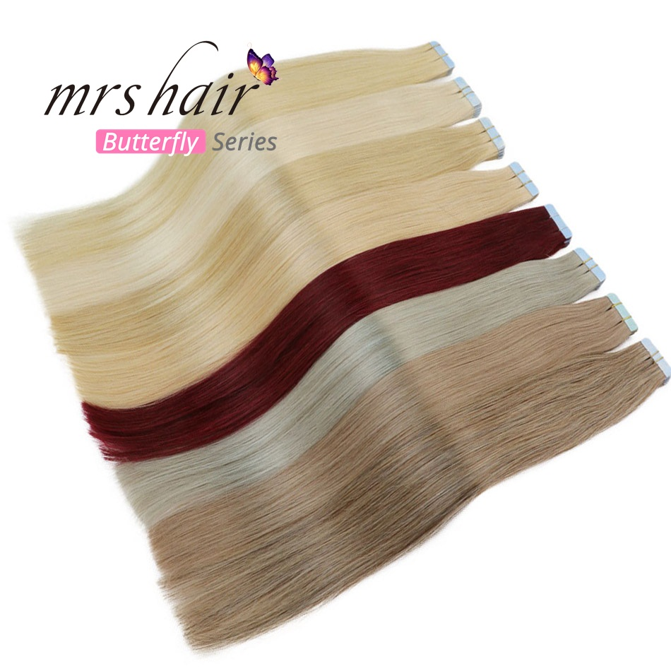 MRSHAIR 6# Skin Weft Human Hair Straight 10pcs 20pcs Tape In Extension Non-Remy Hair Double Sided Tape Hair 16