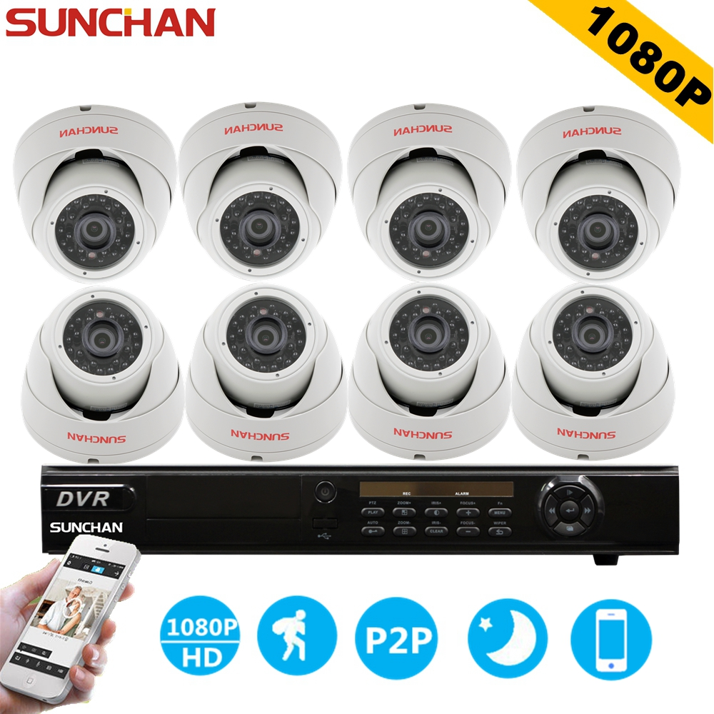 SUNCHAN 8 Channel AHDH System 8ch CCTV System 1920*1080P Indoor Camera 2.0MP Security Camera Surveillance System Kits sunchan 8ch ahdh security camera system 8 chanel dvr system 8x1080p 3000tvl indoor sony cctv camera surveillance system kit