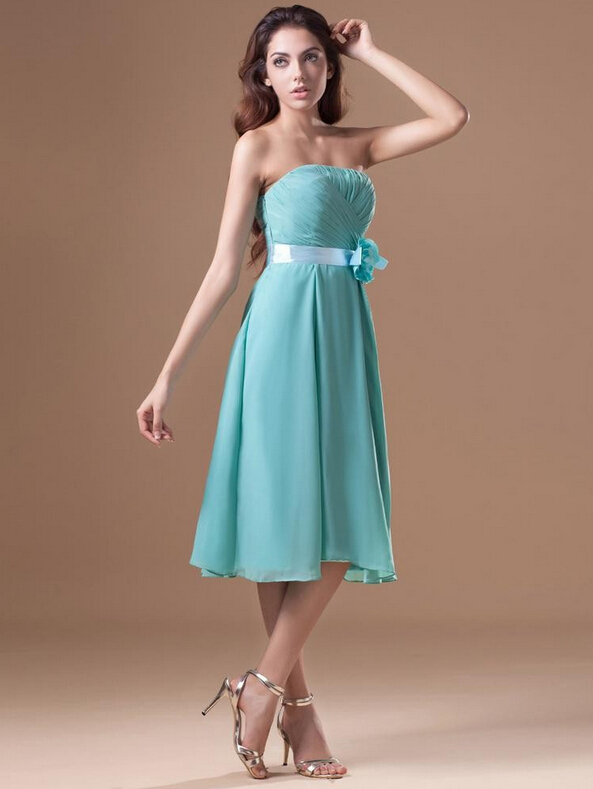 Custom Made Tea Length Bridesmaid Dresses Mint Green Chiffon Mid Calf Junior Gowns With Pleats And Flower In From