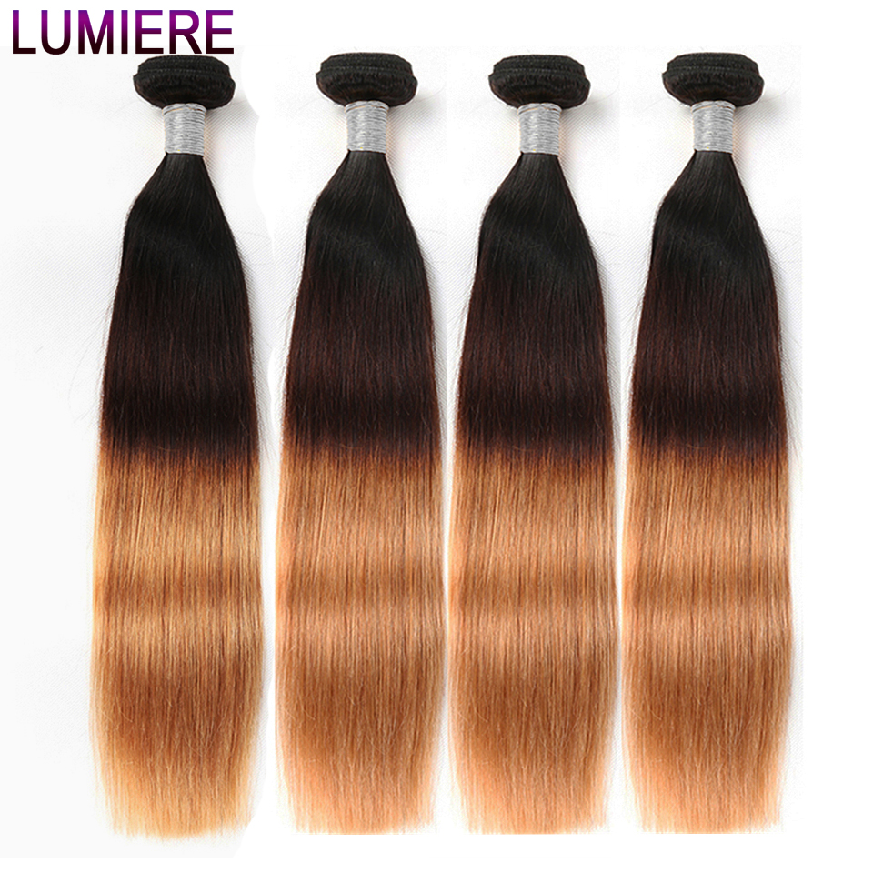 Lumiere Hair Ombre Hair Bundles Brazilian Straight Human Hair 4 Bundles/Lot Non Remy T1B/4/27 3 Tone Ombre Human Hair Extensions