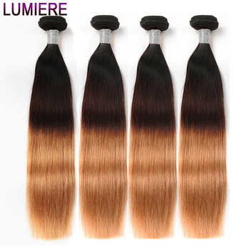 Lumiere Hair Ombre Hair Bundles Brazilian Straight Human Hair 4 Bundles/Lot Non Remy T1B/4/27 3 Tone Ombre Human Hair Extensions - DISCOUNT ITEM  45% OFF All Category