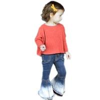 Infant Kids Bell bottomed Pants 2018 Spring Girls Denim Pants Blue Toddler Girl Jeans Soft Kids Flares Children Summer Trousers