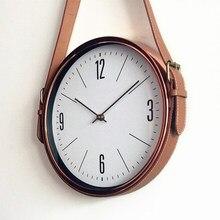 bcbeb0813b15 Correa de reloj de pared moderno Metal oro rosa relojes reloj de pared de  decoración del hogar dormitorio reloj silencio europeo.