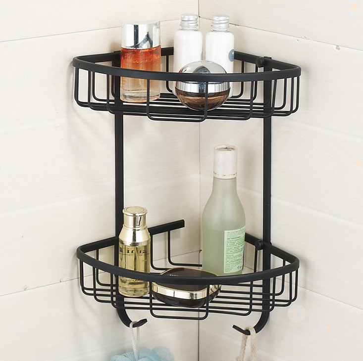 2016  Bathroom Accessories, Dual Tier Brass Material Black Finish Shower Shelf Corner&Shower Basket/ Fashion Strong Shelf black bathroom shelves stainless steel 2 tier square shelf shower caddy storage shampoo basket kitchen corner shampoo holder