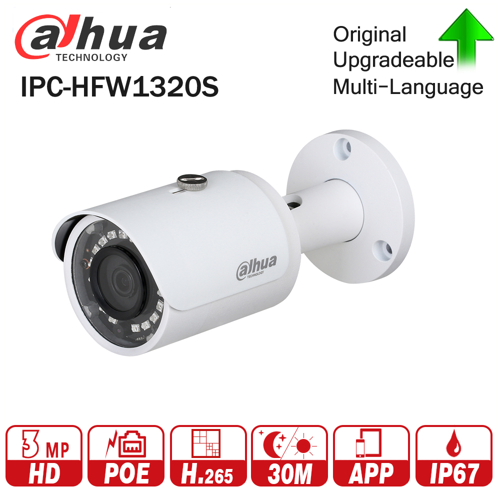 DaHua IPC-HFW1320S 3MP Mini Bullet IP Camera Night Vision 30M IR Infrared CCTV Camera POE IP67 Weatherproof WDR Security Camera