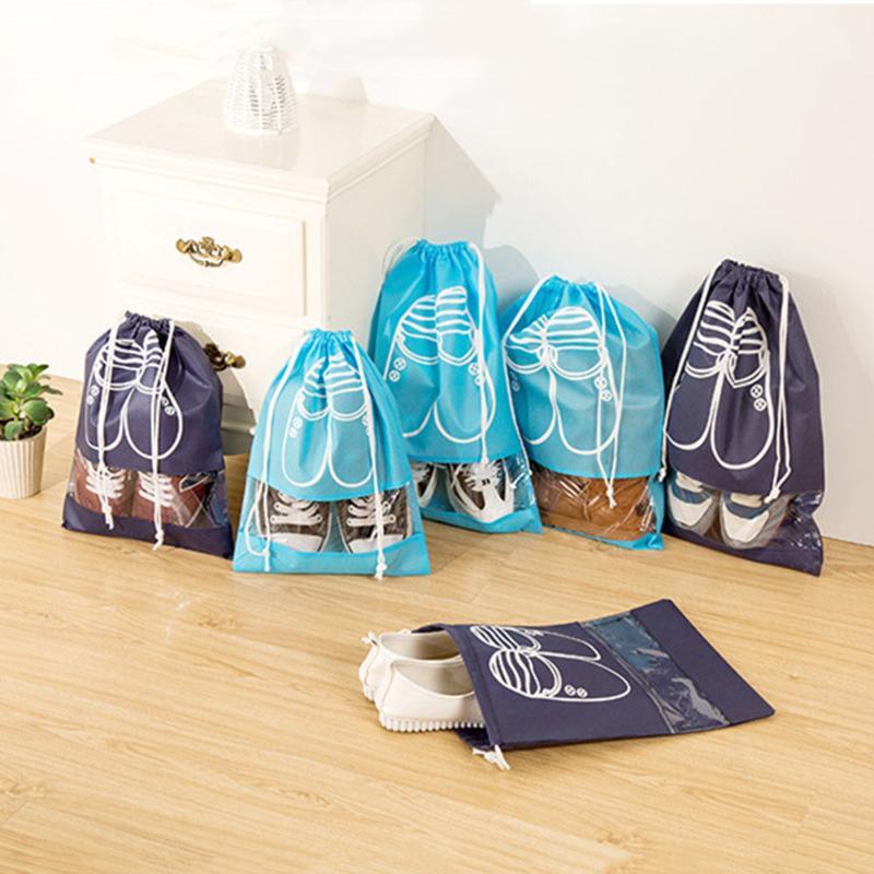 10pcs/Set Waterproof Cloth Travel Shoes Storage Bag Drawstring Organizer PVC transparent splicing home Shose Cloth storage bags