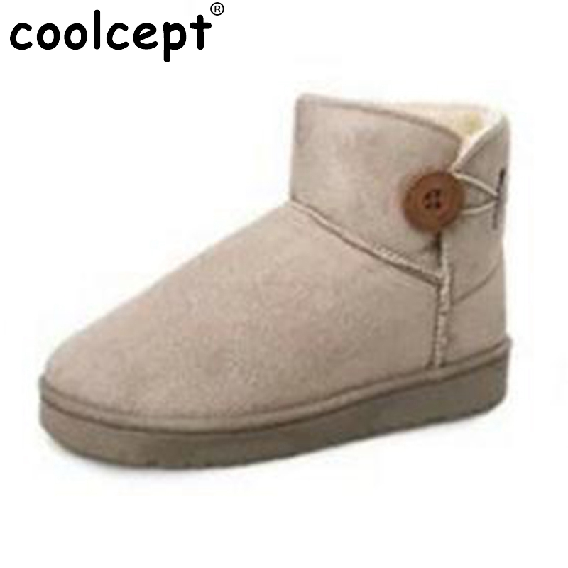 Coolcept Female Winter Shoes Women Thick Fur Inside Warm Snow Boots For Cold Winter Women Mid Calf Warm Plush Botas Size 36-40