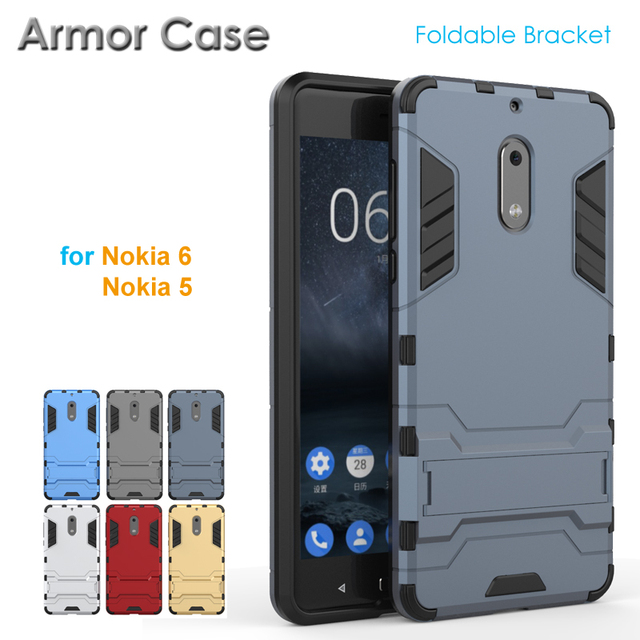 new style 77e16 7f9df 2017 New 2 in 1 Rugged Armor Case for Nokia 6 5 Nokia5 Nokia6 Tough  Shockproof Shield Armour Case for Nokia 5 6 with Bracket-in Fitted Cases  from ...