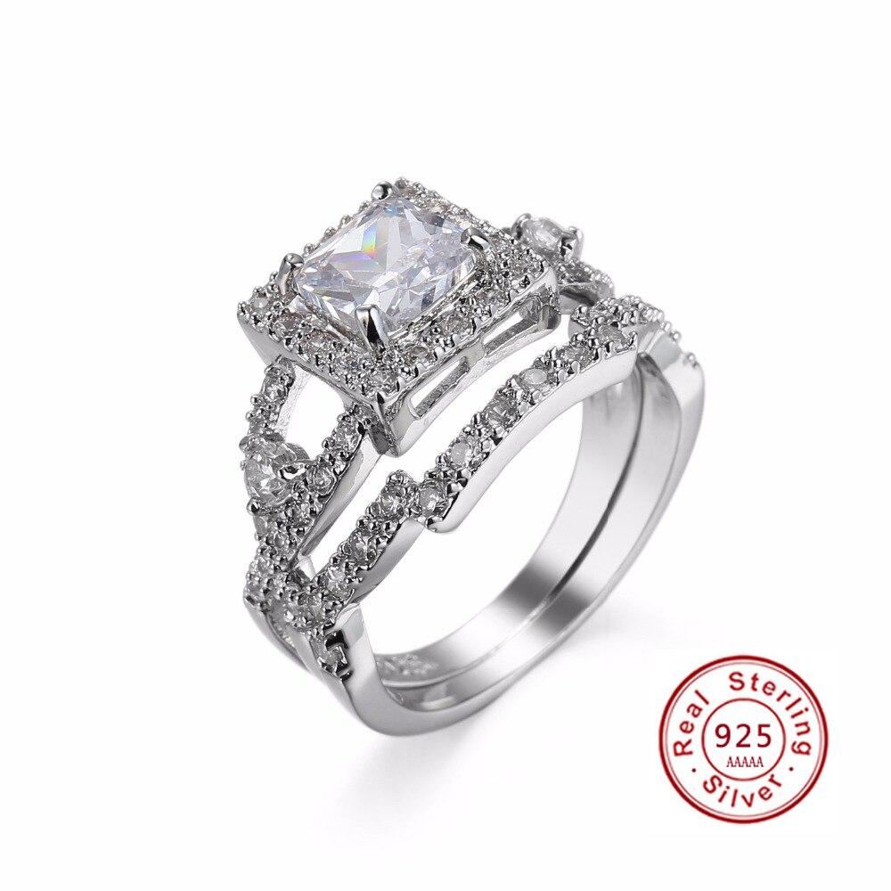 Мода CZ свадебные твердые серебряные кольца набор для женщины 925 штампованные стерлингового серебра обещание палец кольцо набор для леди юв...