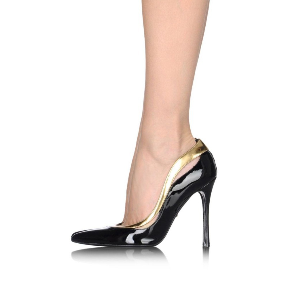 ФОТО Patent Leather Hollow-Out Woman Pumps Brand Summer Pointed Toe Black New Designed Thin High Heels Handmade Big Size Shoes Female